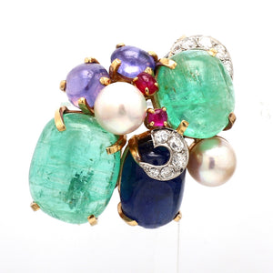 Seaman Schepps, Emerald, Sapphire, Ruby, Pearl, and Diamond Brooch