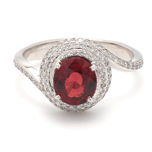2.23ct Oval Cut, No Heat, Red Spinel Ring - GIA Certified
