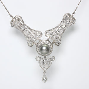 2.84ctw Old European Cut Diamond and Tahitian Pearl Necklace