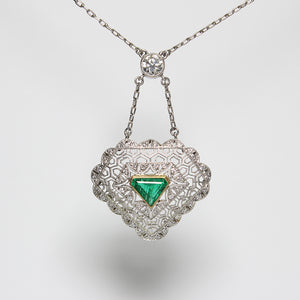SOLD - 0.75ct Trillion Cut Emerald and Diamond Necklace