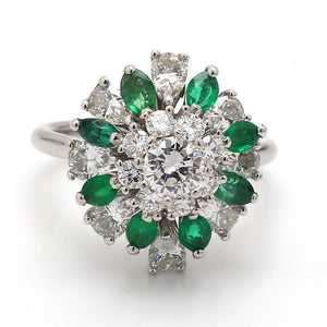 2.40ctw Pear, Round Brilliant Cut Diamond, and Emerald Ring