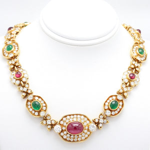 Ruby, Emerald, and Diamond Necklace