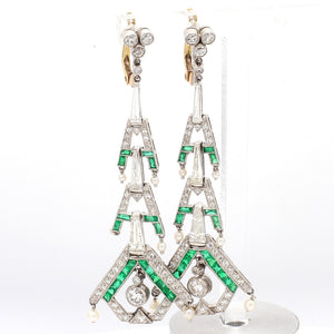 2.63ctw Baguette and Old European Cut Diamond Earrings