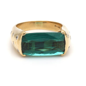 SOLD - 7.93ct Oval Cut Blue-Green Tourmaline Ring