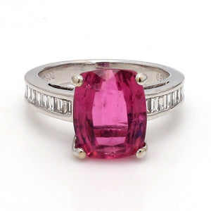 SOLD - 3.67ct Cushion Cut, Pink Tourmaline Ring
