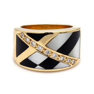 Asch Grossbardt, Diamond, Onyx, and Mother of Pearl Inlay Band