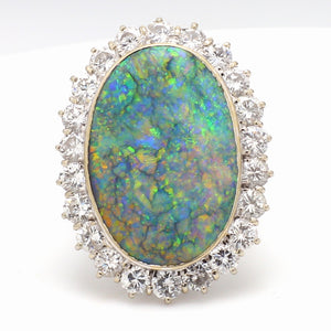 13.00ct Oval Cut, No Treatment, Gray Opal Ring - GIA Certified