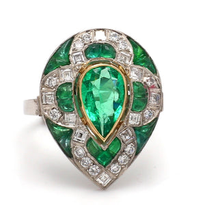 SOLD - 1.10ct Pear Shaped, Emerald Ring