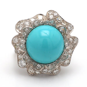 Turquoise Round Cabochon Ring