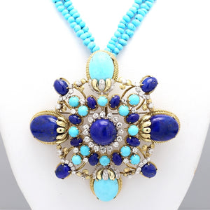 Turquoise, Lapis, and Diamond Pendant/Brooch