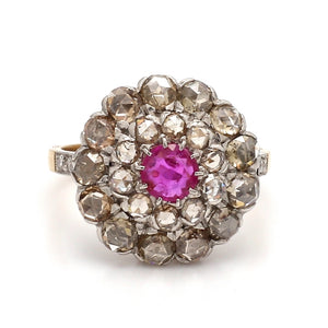 2.54ctw Rose Cut Ruby and Diamond Ring