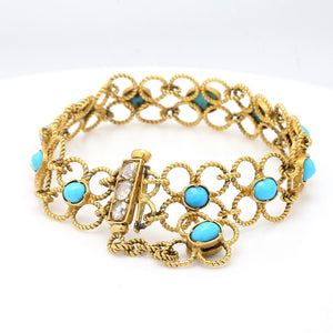 SOLD - 0.40ctw Rose Cut Diamond and Turquoise Bracelet
