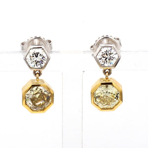 2.90ctw Fancy Yellow Octagon and Round Brilliant Cut Diamond Earrings - GIA Certified