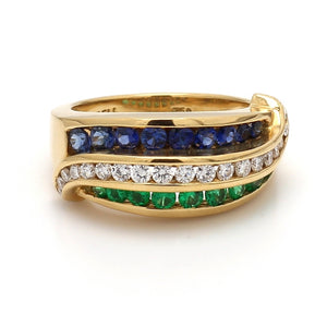 Charles Krypell, Sapphire, Emerald, and Diamond Band