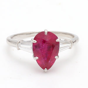 Cartier, 3.38ct Pear Shaped, Burma, No Heat Ruby Ring -  AGL Certified