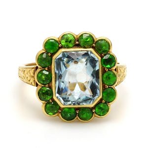 SOLD - Aquamarine and Demantoid Garnet Ring
