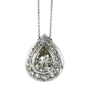 SOLD - 1.50ct Pear Cut Diamond Necklace