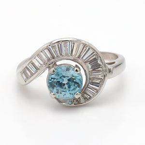 1.88ct Round Brilliant Cut, Blue Zircon Ring