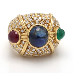 5.50ctw Cabochon Cut Sapphire, Emerald, and Ruby Ring Ring