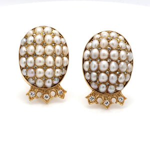 1.20ctw Diamond and Pearl Earrings