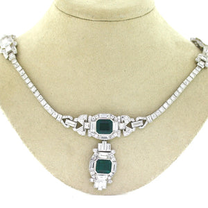 8.90ctw Emerald Cut, Colombian Emerald Necklace - AGL Certified
