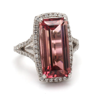 10.49ct Emerald Cut, Raspberry Tourmaline Ring