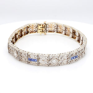 0.35ctw Old European Cut Diamond and Sapphire Bracelet