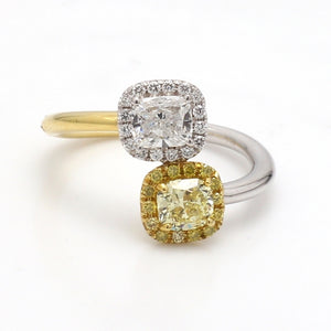 0.73ct E SI1 and 0.59ct Fancy Yellow Cushion Cut Diamond Ring - GIA and EGL Certified