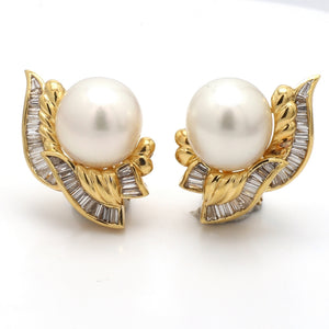 2.00ctw Baguette Cut Diamond and Pearl Earrings