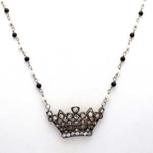 0.70ctw Round Brilliant Cut Diamond, Onyx, and Pearl Necklace