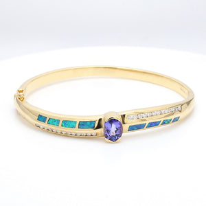 1.88ct Oval Cut Tanzanite and Opal Inlay Bracelet