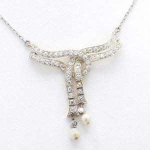1.40ctw Round Brilliant Cut Diamond and Pearl Necklace