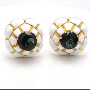 David Webb, 8.00ctw Round Green Tourmaline Earrings
