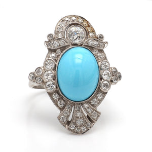6.44ct Oval Cabochon Cut Persian Turquoise Ring