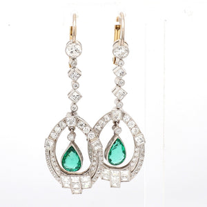 2.26ctw Old European, French Cut Diamond and Emerald Earrings