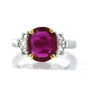 2.77ct Oval Cut, No Heat, Purplish-Red, Burma Ruby Ring - GIA Certified