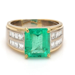4.56ct Emerald Cut Colombian Emerald Ring - AGL Certified