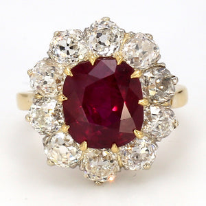 5.15ct Cushion Cut, Thai Ruby Ring - AGL Certified