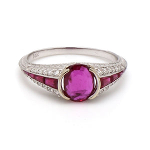 0.91ct Oval Cut, Ruby Ring