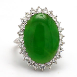 11.72ct Oval Cabochon Cut, Green Jadeite Jade Ring - GIA Certified