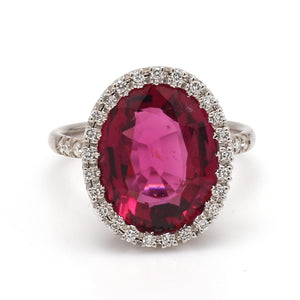 SOLD - 7.00ct Oval Cut, Rubellite Tourmaline Ring