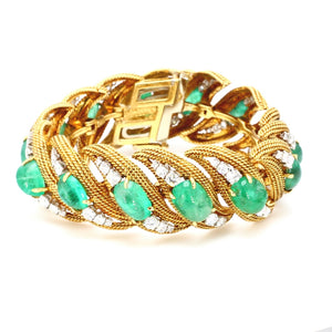 SOLD - David Webb, 65.00ctw Emerald and Diamond Bracelet