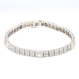 SOLD - 4.00ctw Round, Baguette, and French Cut Diamond Bracelet