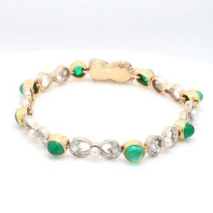 2.50ctw Emerald, Pearl, and Diamond Bracelet
