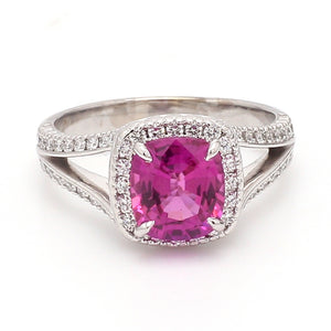 2.50ct Cushion Cut Rubellite Tourmaline Ring