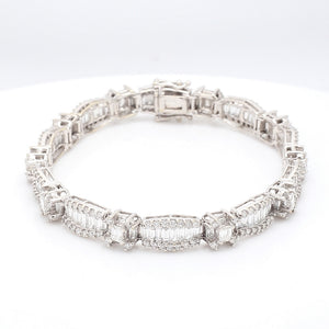 SOLD - 8.00ctw Round, Baguette, and Emerald Cut Diamond Bracelet