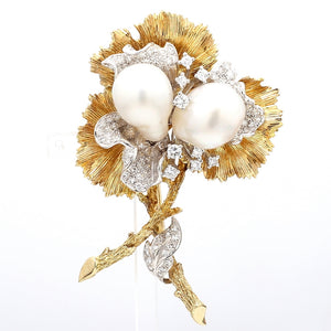Tiffany & Co., Pearl and Diamond Brooch