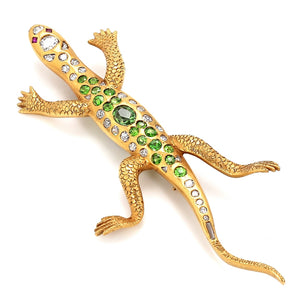 CD Peacock & Co., Diamond and Garnet Salamander Brooch