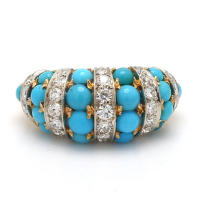 1.00ctw Round Brilliant Cut Diamond and Turquoise Ring