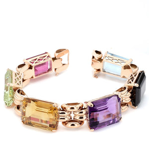125.00ctw Emerald Cut, Multi Gemstone Bracelet